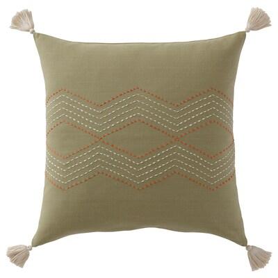 HALLVI غطاء وسادة, صناعة يدوية أخضر, 50x50 سم