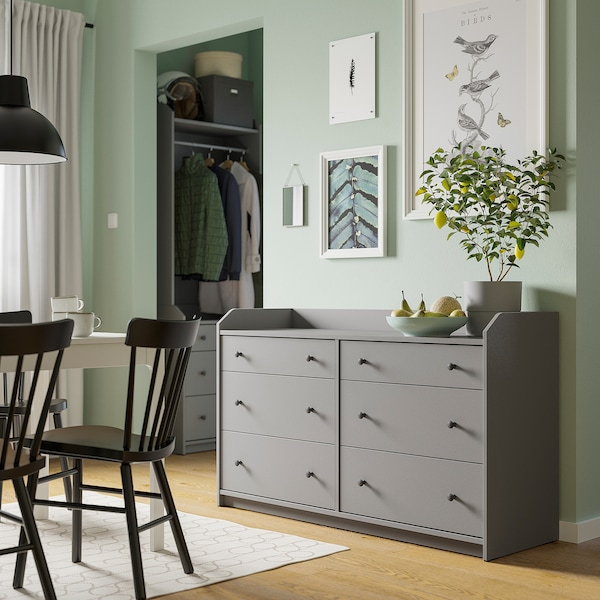 HAUGA Chest of 6 drawers, grey, 138x84 cm