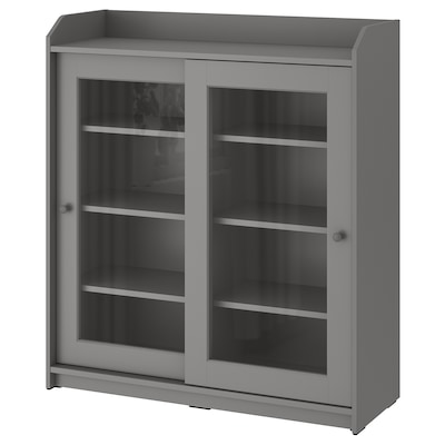 HAUGA خزانة بباب زجاج, رمادي, 105x116 سم