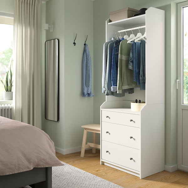 HAUGA خزانة ملابس مفتوحة مع ٣ أدراج, أبيض, 70x199 سم