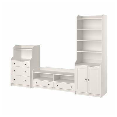 HAUGA TV/storage combination, white, 277x46x199 cm
