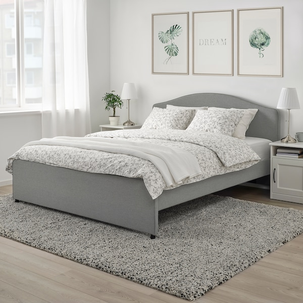 HAUGA Upholstered bed frame, Vissle grey, 180x200 cm