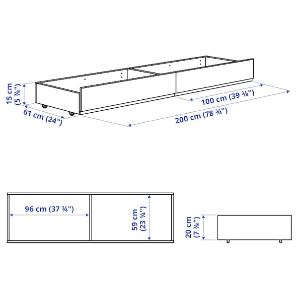 HAUGA Upholstered bed storage box, Vissle grey, 200 cm