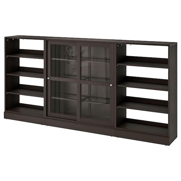 HAVSTA تشكيلة تخزين بأبواب زجاجية منزلقة, بني غامق, 283x37x134 سم