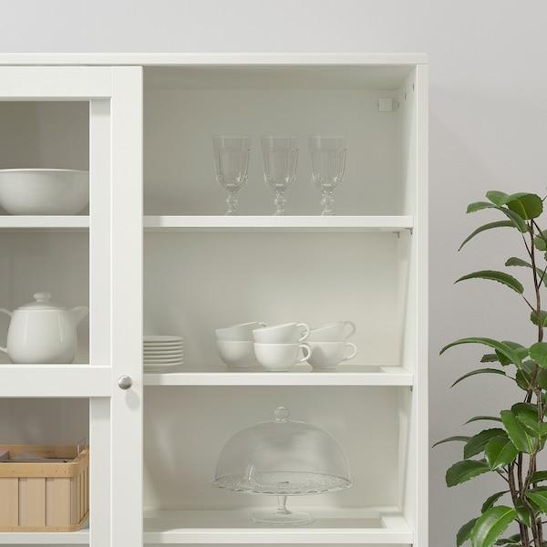 HAVSTA تشكيلة تخزين بأبواب زجاجية منزلقة, أبيض, 242x47x212 سم