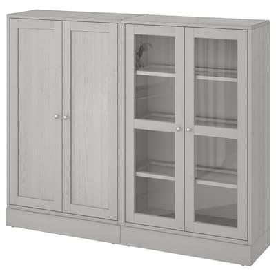 HAVSTA تشكيلة تخزينية مع أبواب زجاجية, رمادي, 162x37x134 سم