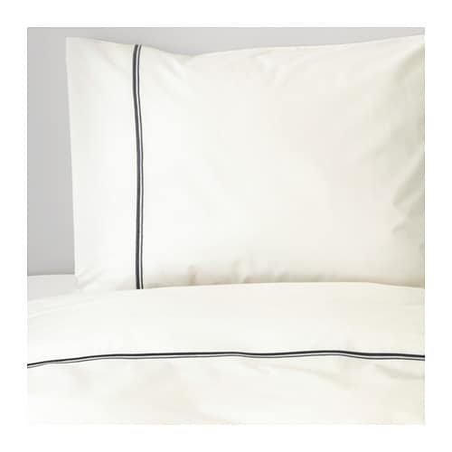 HÄXÖRT Quilt cover and 2 pillowcases, white, grey