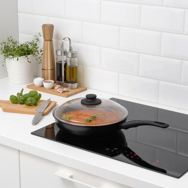 HEMLAGAD Sauté pan with lid, black, 26 cm