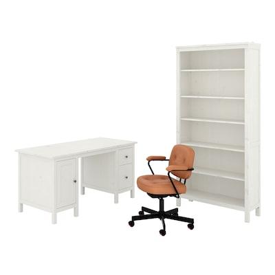 HEMNES/ALEFJÄLL تشكيلات المكاتب والتخزين, و كرسي دوار/صباغ أبيض ذهبي-يني