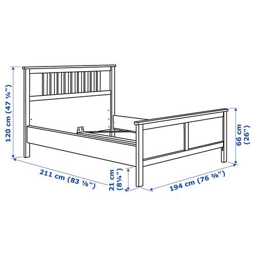HEMNES Bed frame, white stain/Luröy, 180x200 cm