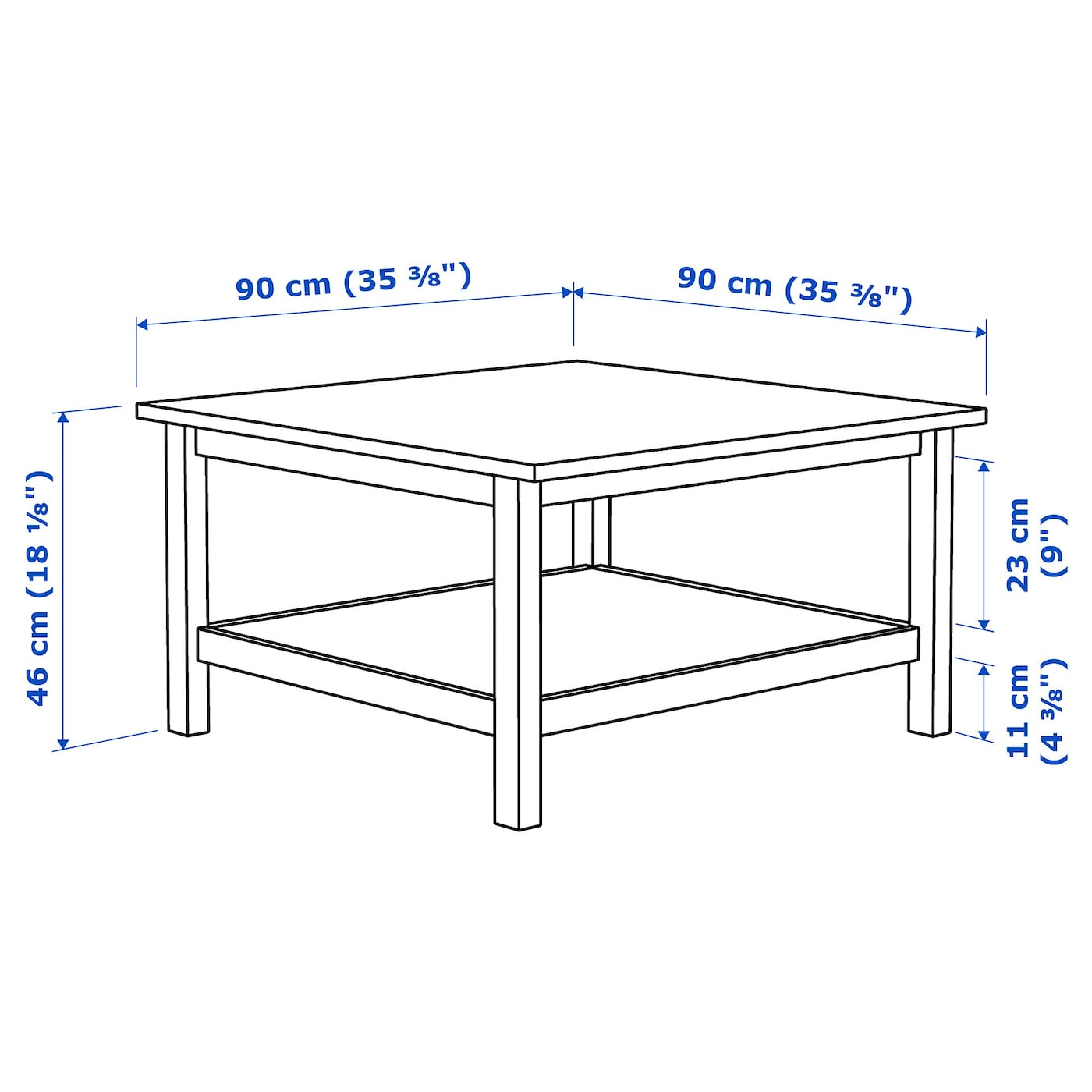 Hemnes Coffee Table White Stain 90x90 Cm Ikea [ 1400 x 1400 Pixel ]