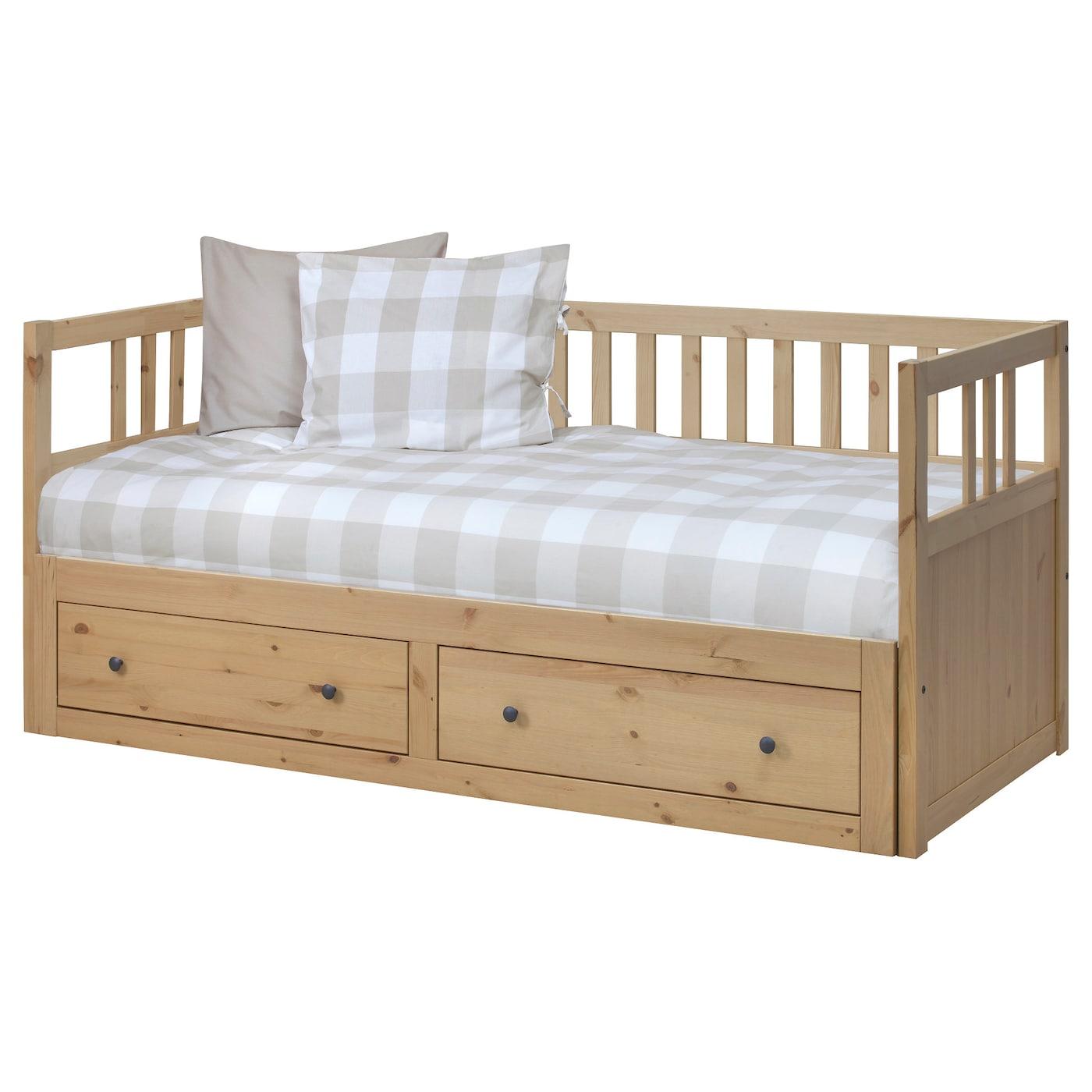 HEMNES Day-bed w 2 drawers/2 mattresses, light brown/Malfors medium firm, 80x200 cm