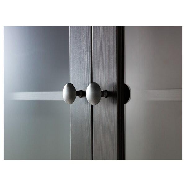 HEMNES خزانة بباب زجاجي مع 3 أدراج, أسود-بني, 90x197 سم