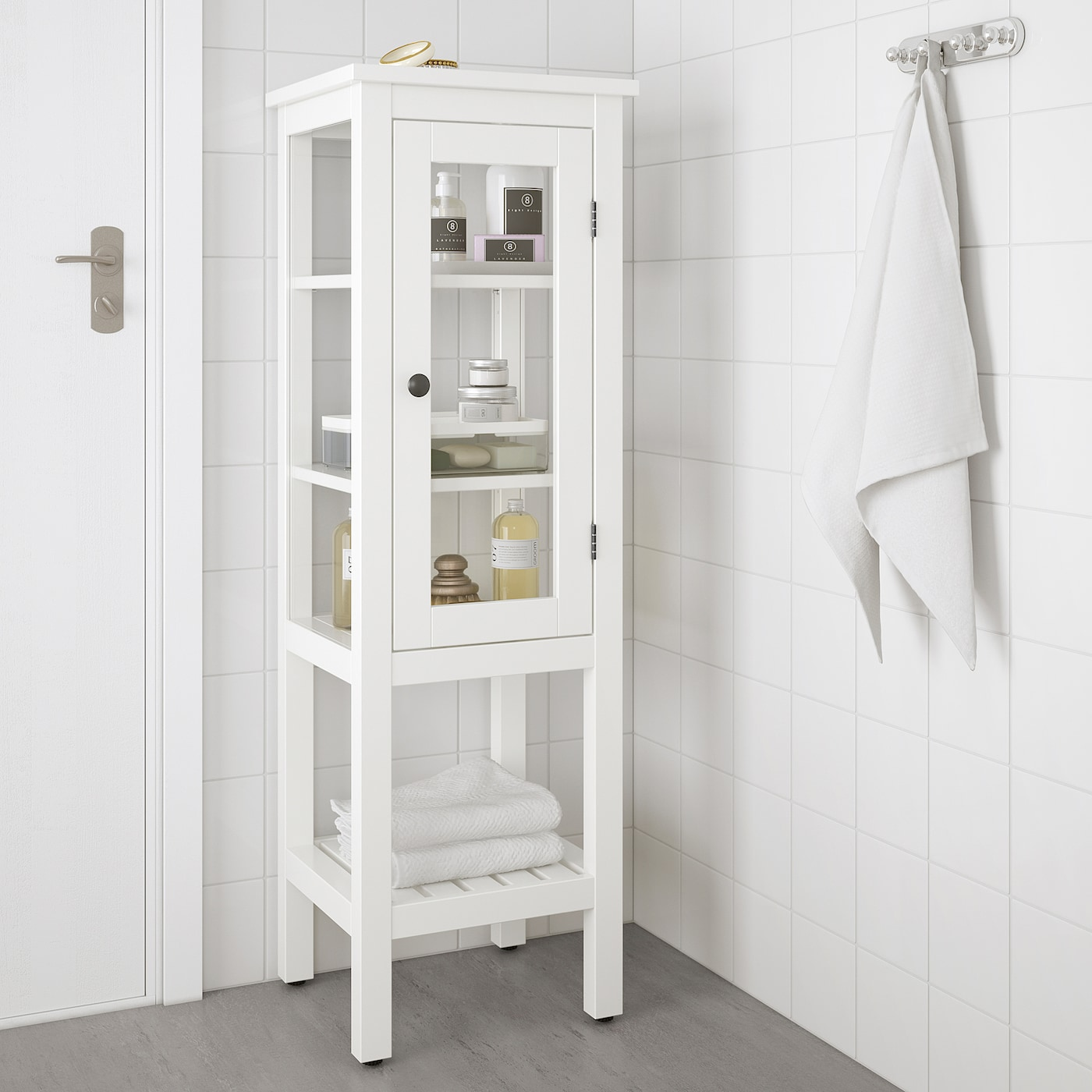 HEMNES High cabinet with glass door, white, 42x38x131 cm
