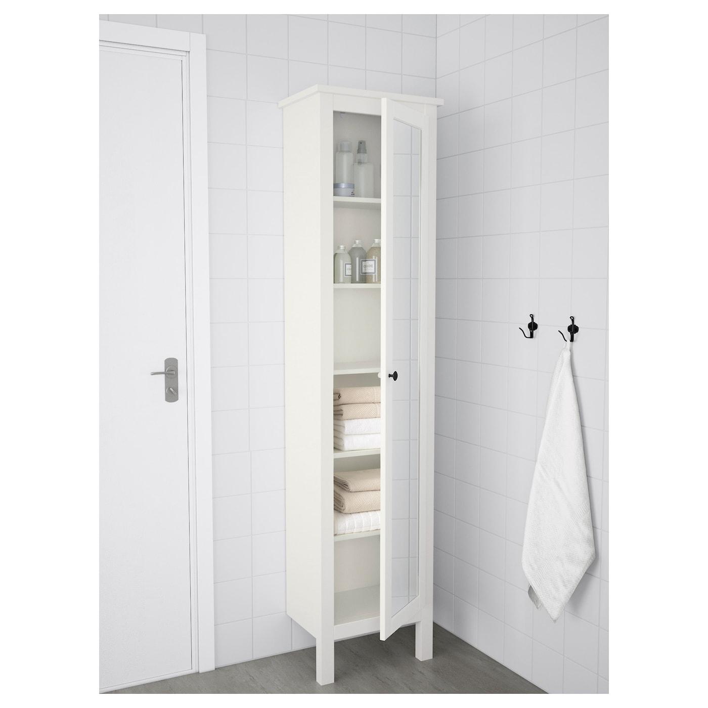 HEMNES High cabinet with mirror door - white 10x10x10 cm