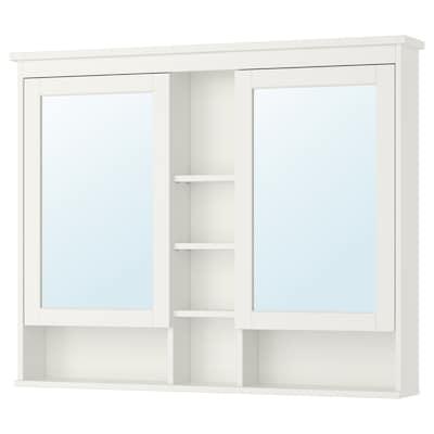 HEMNES خزانة بمرآة مع بابين, أبيض, 120x98 سم