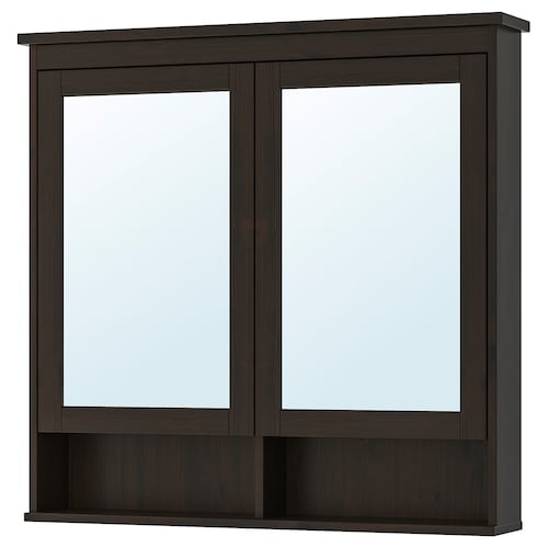 HEMNES mirror cabinet with 2 doors black-brown stain 103 cm 16 cm 98 cm