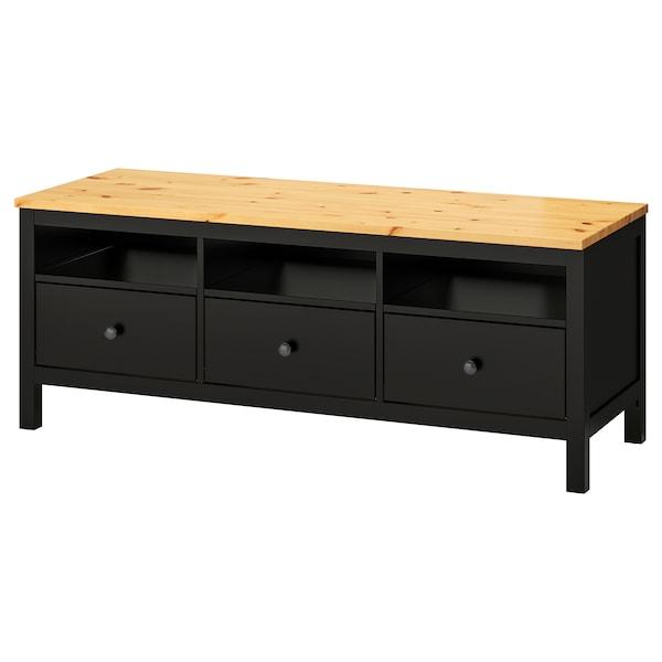HEMNES TV bench, black-brown/light brown, 148x47x57 cm