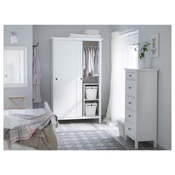 Wardrobe With 2 Sliding Doors Hemnes White Stain
