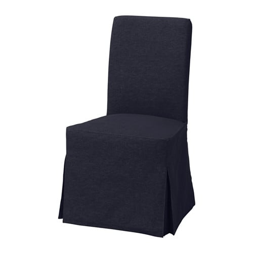 Henriksdal chair with long cover vansta dark blue birch for Coprisedie ikea