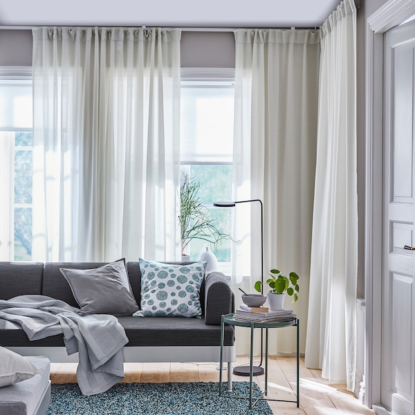 HILJA Curtains, 1 pair, white, 145x300 cm