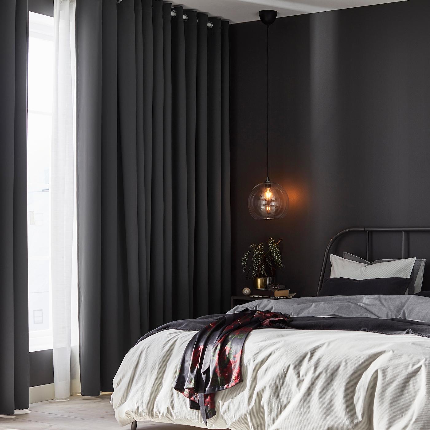 HILLEBORG Block-out curtains, 5 pair - grey 545x5 cm
