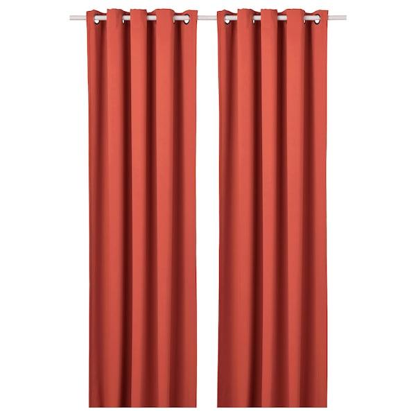 HILLEBORG ستائر عاتمة للغرفة، 1 زوج, بني-أحمر, 145x300 سم