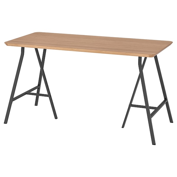 HILVER / LERBERG Table, bamboo/grey, 140x65 cm