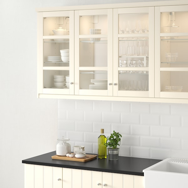 HITTARP Glass door, off-white, 30x100 cm
