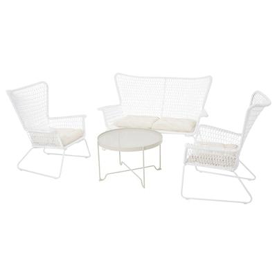 HÖGSTEN طقم جلسة 4 مقاعد، خارجية, أبيض/Kuddarna بيج