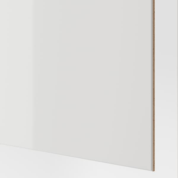 HOKKSUND Pair of sliding doors, high-gloss light grey, 150x236 cm