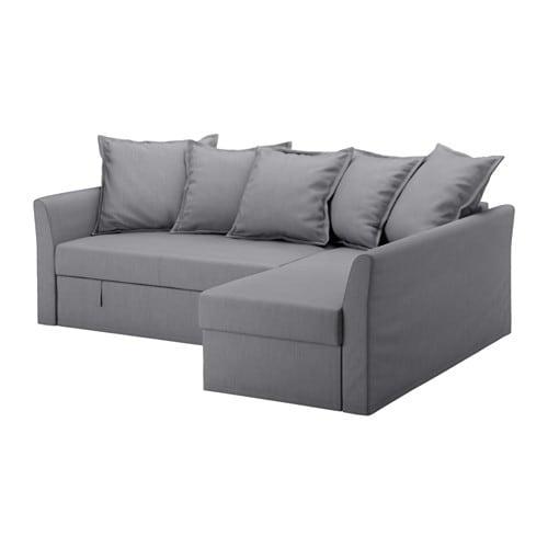 HOLMSUND Corner sofa bed Nordvalla medium grey IKEA