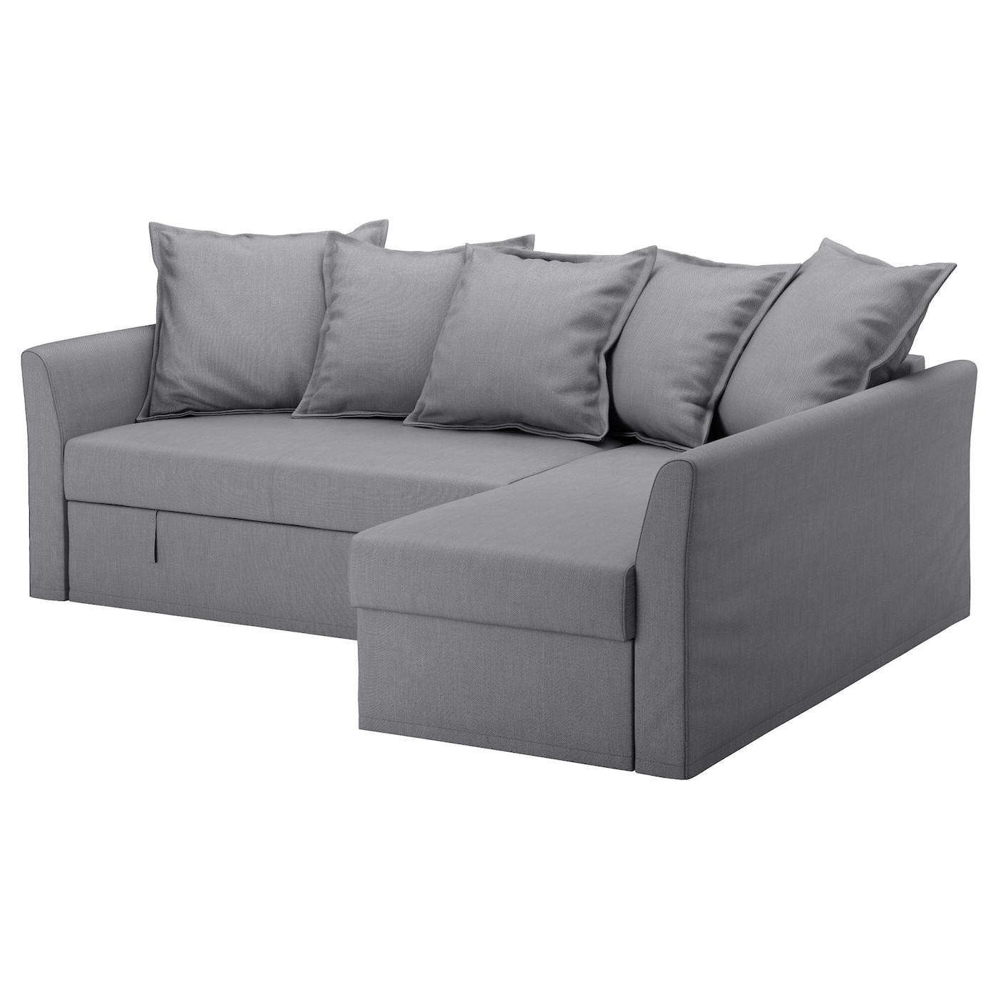 HOLMSUND Corner sofa-bed, Nordvalla medium grey