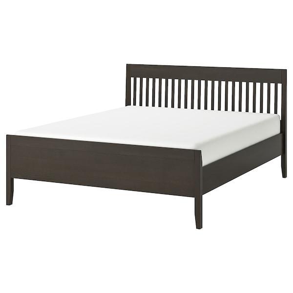 IDANÄS Bed frame, dark brown/Lönset, 180x200 cm