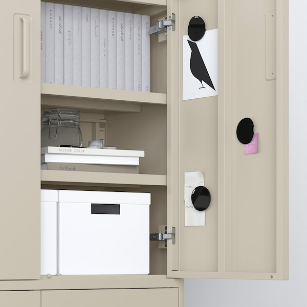 IDÅSEN Cabinet with doors and drawers, beige, 80x47x119 cm