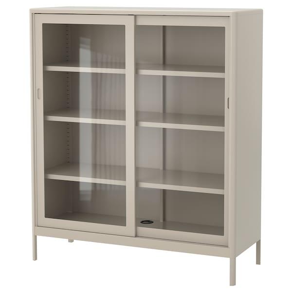 IDÅSEN خزانة مع أبواب إنزلاقية زجاجية, بيج, 120x140 سم