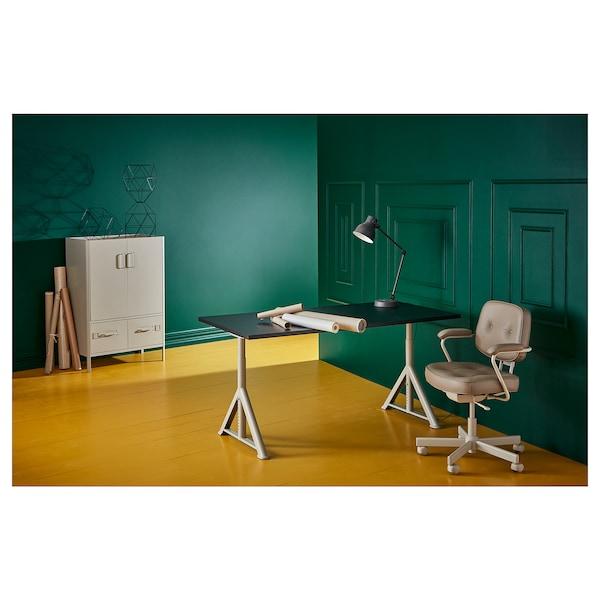 IDÅSEN Desk, black/beige, 160x80 cm