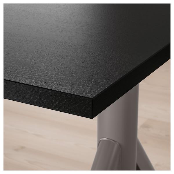 IDÅSEN مكتب متغيّر الارتفاع, أسود/رمادي غامق, 160x80 سم