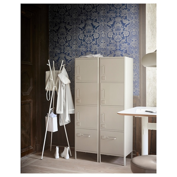 IDÅSEN High cabinet with drawer and doors, beige, 45x172 cm