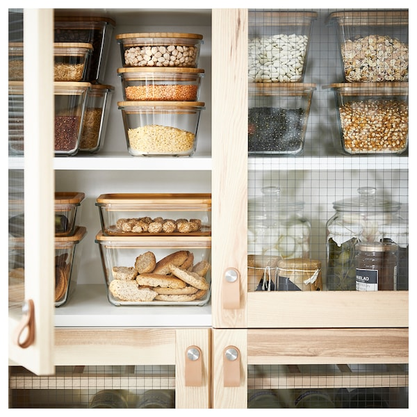 IKEA 365+ حاوية طعام مع غطاء, مستطيل زجاج/خيزران, 1.0 ل