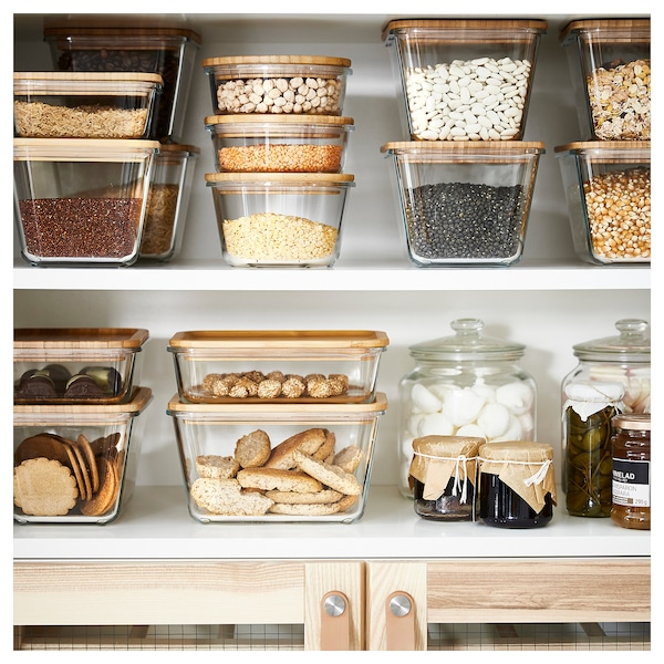 IKEA 365+ Food container with lid, rectangular glass/bamboo, 1.8 l