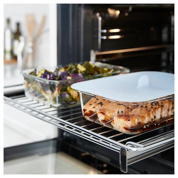 IKEA 365+ حاوية طعام مع غطاء, مستطيل زجاج/سليكون, 1.0 ل