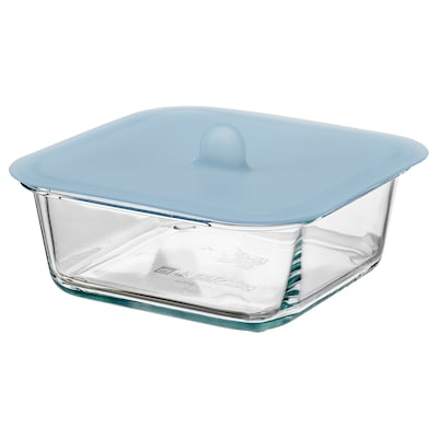 IKEA 365+ Food container with lid, square glass/silicone, 600 ml