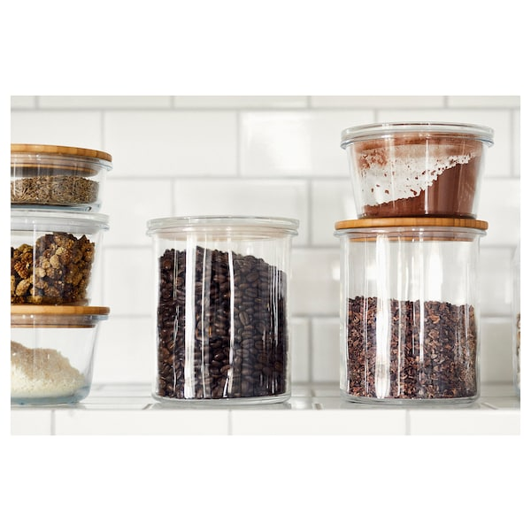 IKEA 365+ Jar with lid, glass/bamboo, 1.7 l