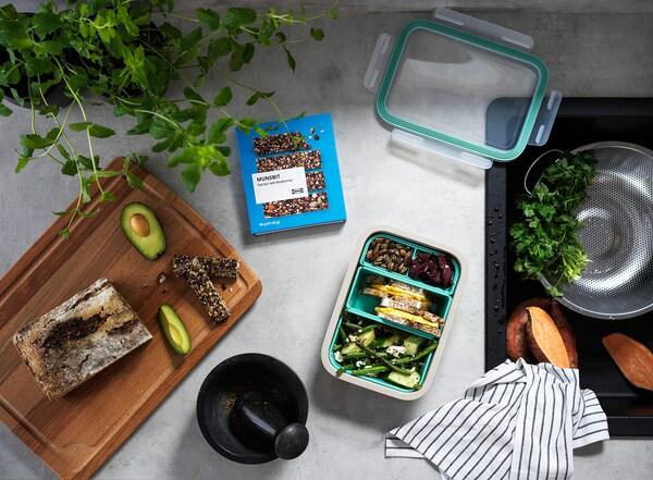 IKEA 365+ صندوق غداء بتركيبات داخلية, مستطيل/بيج, 1.0 ل
