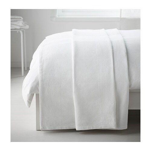 INDIRA Bedspread IKEA This woven cotton bedspread gives your bed a vibrant, decorative look and extra warmth and comfort for you.