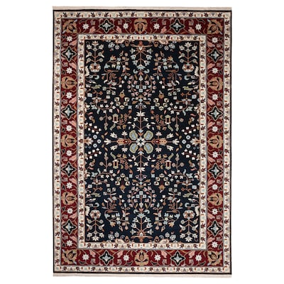 INDO MIX Rug, low pile, blue/red, 200x300 cm