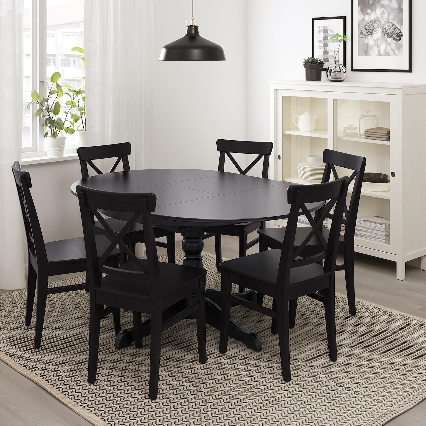 INGATORP Extendable table - black 7/7 cm