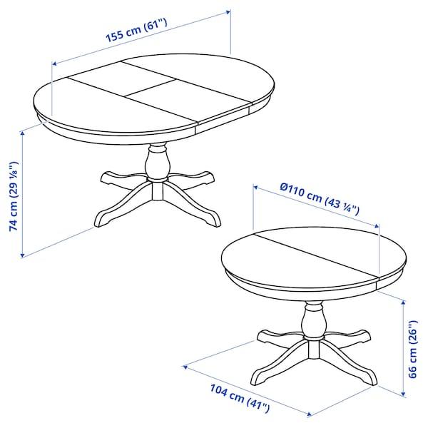 INGATORP / INGATORP Table and 4 chairs, white, 110/155 cm