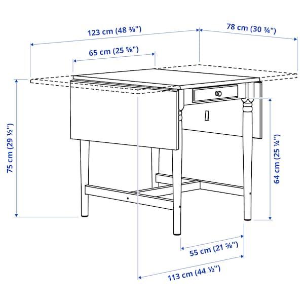 INGATORP / INGOLF طاولة وكرسيان, أسود-بني/أبيض, 65/123x78 سم